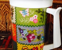 1960s Patchwork Insulated Pitcher by Thermo-Sev * Faux Embroidered Mushrooms, Butterflies, Bees & Flowers * Cheerful, Funky, Practical!