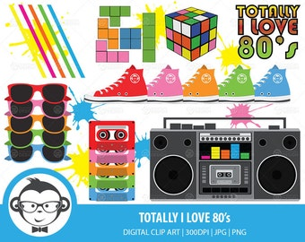 Totally I Love The 80's Digital Clip Art - Instant Download Digital Clip Art For Commercial or Personal Use