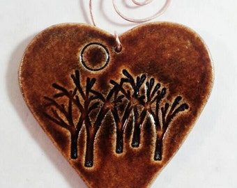 Wall heart, ceramic heart ornament, ceramic hearts, wall hanging heart, tree wall ornament, tree wall art, pottery anniversary gifts