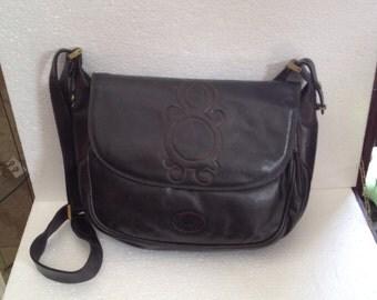 Alexander black leather bag years 60