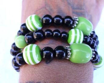 Lime green and jet black stretch bracelet
