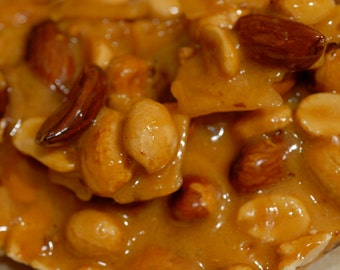 Handpulled brittles. Lightly salted  peanuts, cashews, mixed nuts or sunflower seeds in a rich buttery brittle.