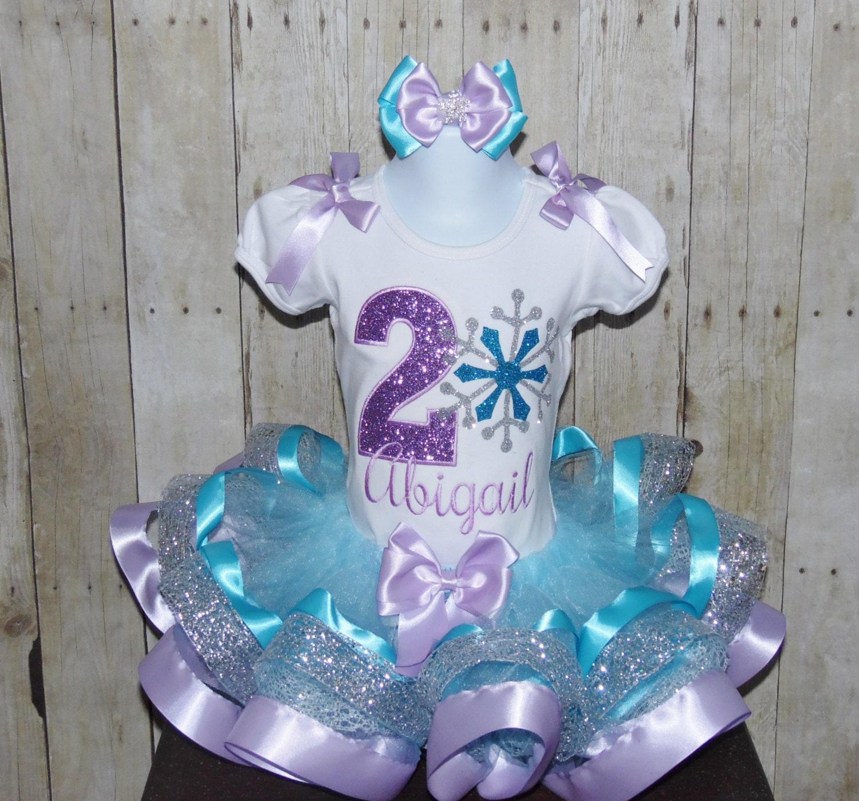 Snowflake Ribbon Trim Tutu Set. Snowflake Birthday Dress