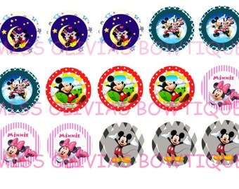 15 Digital 1 inch Custom Mickey and Minnie Bottle Cap images (print your own) Instant Digital Download