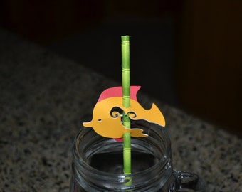 25 Red/Yellow & Green/Yellow Straw Toppers/Straw Toppers/Fish Straw Topper/Under the Sea Straw Topper/Straw Topper/Sea Straw Topper