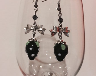Black Strawberry Glass Bead with Bow Charm Earrings