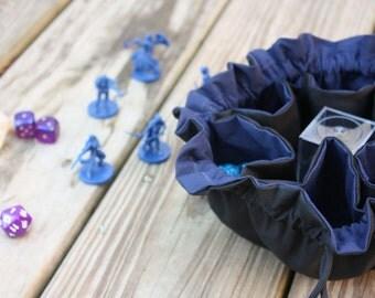 MADE TO ORDER - Dice Bag - Original Bag of Many Dice - 6 Pocket Dice Bag - Black and Navy Blue
