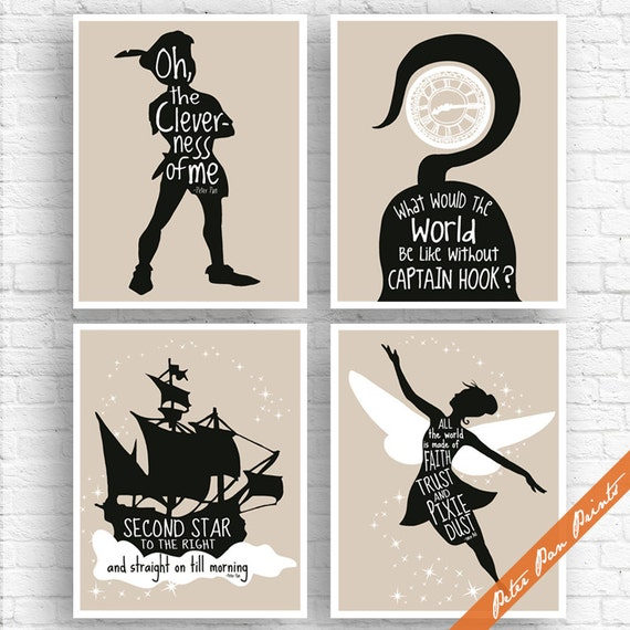 peter pan neverland inspired quotes set of 4 art print. Black Bedroom Furniture Sets. Home Design Ideas