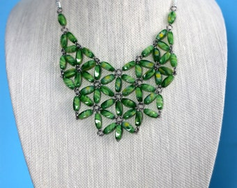 Green Glass Bead Statement Necklace