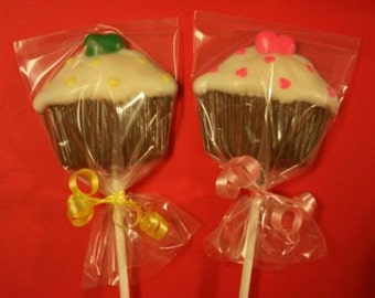 20 Chocolate CUPCAKE w/ HEARTS Lollipop Party Favors