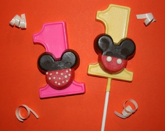 20 Chocolate first birthday MOUSE Party Favors - Mickey Minnie inspired