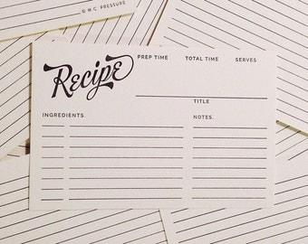 Letterpress Recipe Cards - Bakers Dozen (13 Count)
