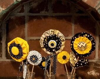 Yellow, black and white, fabric flower, triple jar arrangement