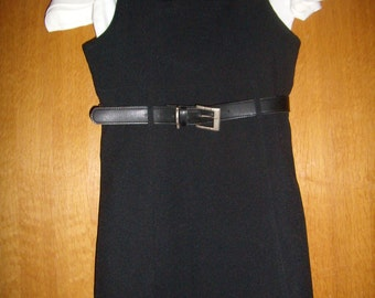 The little rock black dress with shoulder straps and square neckline, size 40, S/M vintage French 1994