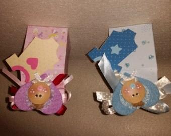 Favor magnet birth christening blue pink