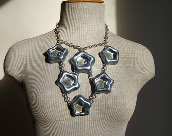 Bib necklace 5 silver stars  and glass - Evening necklace - Statement necklace - OOAK necklace