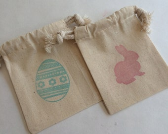 Easter Treat Bags: Easter Bunny and Easter Egg Drawstring Easter Favor Bags, Easter Party Bag