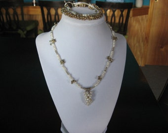 "Beautiful fresh water pearl 17"" necklace & matching 7 3/4"" double strand bracelet"