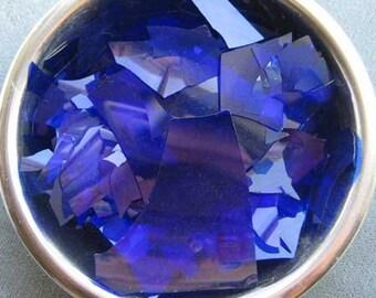 Dark Blue Reichenbach COE 96 Glass Shards 1 OZ R-41