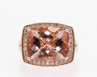 14 Kt Morganite and Diamond Ring