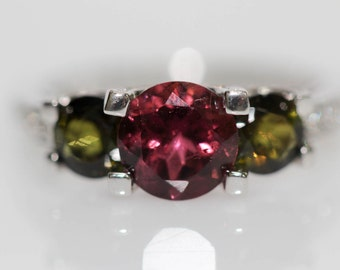 925 Pink / Green Tourmaline/ White Topaz Ring