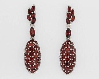 925 Garnet Earring