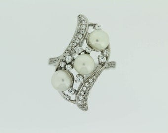 925 Fresh  Water  Pearls / White Topaz Ring .