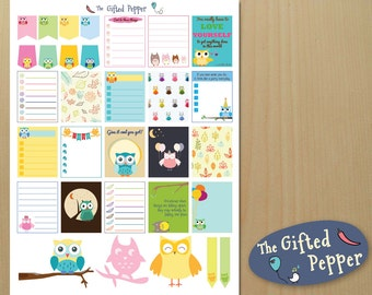 Owls Sticker Kit [Printable] Cute Owl theme. Planner decoration. Notes. For Erin Condren Planner. Stickers. Owl calendar stickers.