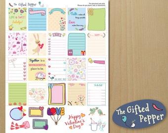 Valentine's planner kit [Printable]. February, pink, love planner kit. For Erin Condren Planner. Sticker kit.