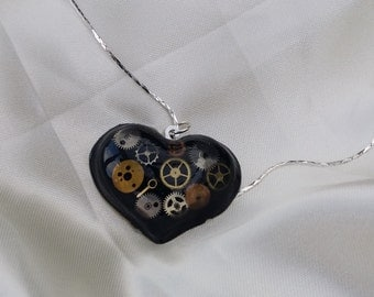 Steampunk Resin Heart Necklace