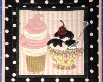 Finished mini quilt Ice Cream Parlor wall Hanging