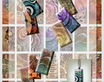 35 Domino DESIGNER PENDANT IMAGES (1 x 2 inches) on one downloadable collage sheet