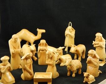 Heirloom 15 piece Hand Carved Nativity