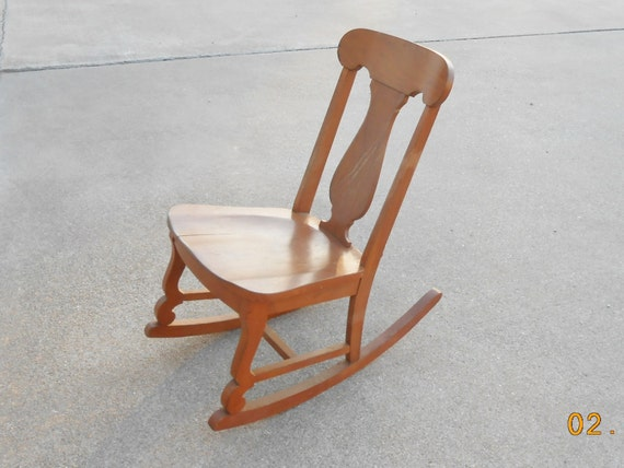 Vintage Child 39 S Wooden Rocking Chair Antique By
