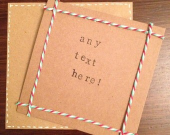 Personalised handmade Christmas card - any text available