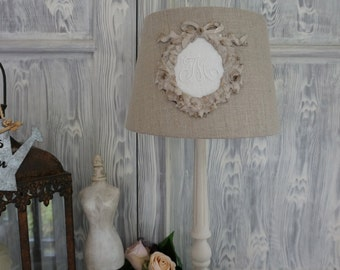 Shabby chic, Pure Linen Lampshade with VINTAGE LINEN MONOGRAM