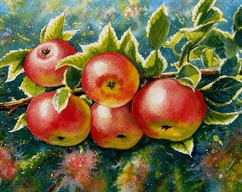 """The Apple Tree - Artists Garden.""""  An Original Watercolour by Andrew Bailey. Fruit trees, Garden & Flower paintings."""