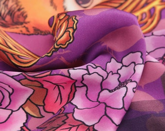 Mr Fox in Purple- square silk scarf