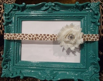 Ivory shabby flower on cheetah print elastic