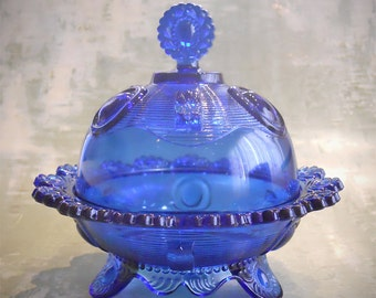 Imperial Glass Dewey Cobalt Footed Butter Dish with Domed Lid