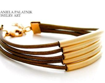 Multi Strand Bracelet, Leather Bracelet, Stranded Bracelet, Women Bracelet, Gold Tube Beads, Cylinder Beads Bracelet, Charm Bracelet.