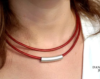 Red Leather Necklace, Cylinder Bar Necklace, Tube Bar Necklace, Choker Necklace, Everyday Wear Necklace, Silver Necklace, Charm Necklace.