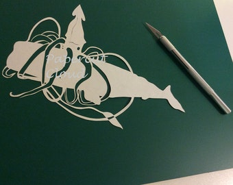 Giant squid on giant whale papercut template