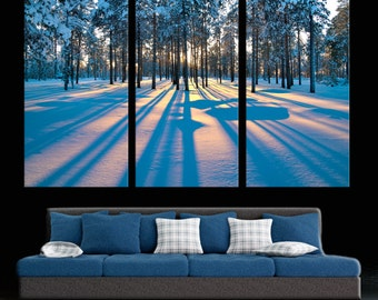 """Winter sunset in a forest Canvas Print. 3 Panel Split (Triptych), 1.5"""" deep frames - Nature photography for living room or office decor."""
