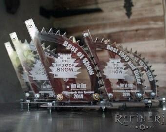 Metal Trophy with Gear Design