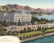 Grand Hotel Europe, Lucerne., Switzerland , Circa 1915 Unused Color Postcard