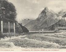Tellskapelle mit Gitschen und Urirotstock, Lake Lucerne, Switzerland - ca. 1908 Antique Swiss Postcard, Editions Photoglob, Zurich #2845