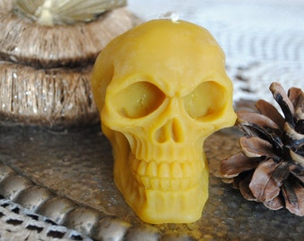 Beeswax Skull Candle - Xmas, Christmas Table Centre Piece - Skull Beeswax Candle, Gothic, Scary