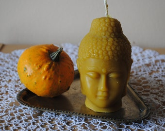 Beeswax Budda Head Candle - Xmas, Christmas Table Centre Piece, Pure Natural, Fall - Beeswax Budda Head Candle