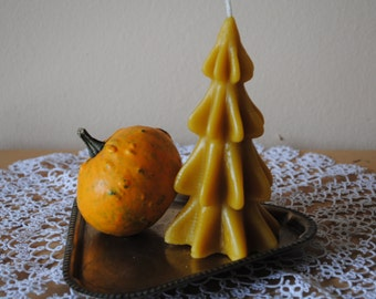 2 x Beeswax Christmas Tree Candle - Xmas, Christmas Table Centre Piece, Pure Natural, Fall - Beeswax Christmas Tree Candles